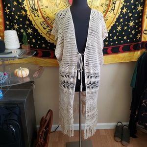 Forever 21 Beige Crochet Kimono